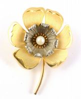 Vintage Gold Silver And Faux Pearl Poppy Flower Brooch.